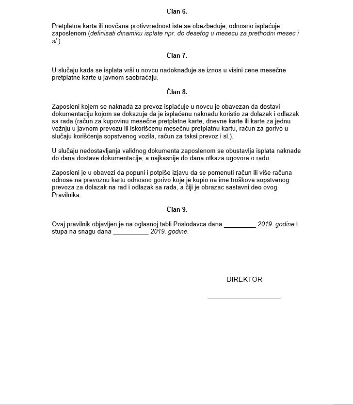 Pravilnik o naknadi troškova prevoza sa izjavom zaposlenog - verzija 2